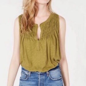 Free people olive green tank top size small!